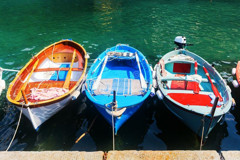 Rowboats anchoring in the harbour. Picture of rowboats anchoring in the harbour stock photography