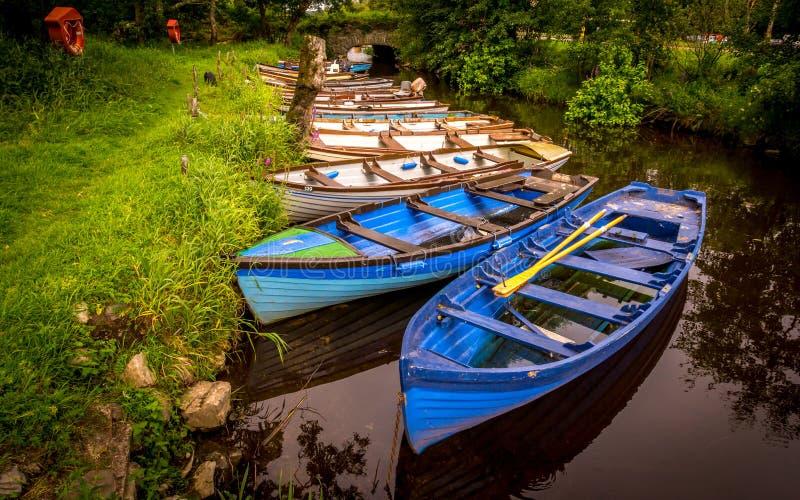 Rowboats przy Ross kasztelem w Killarney Irlandia obrazy royalty free