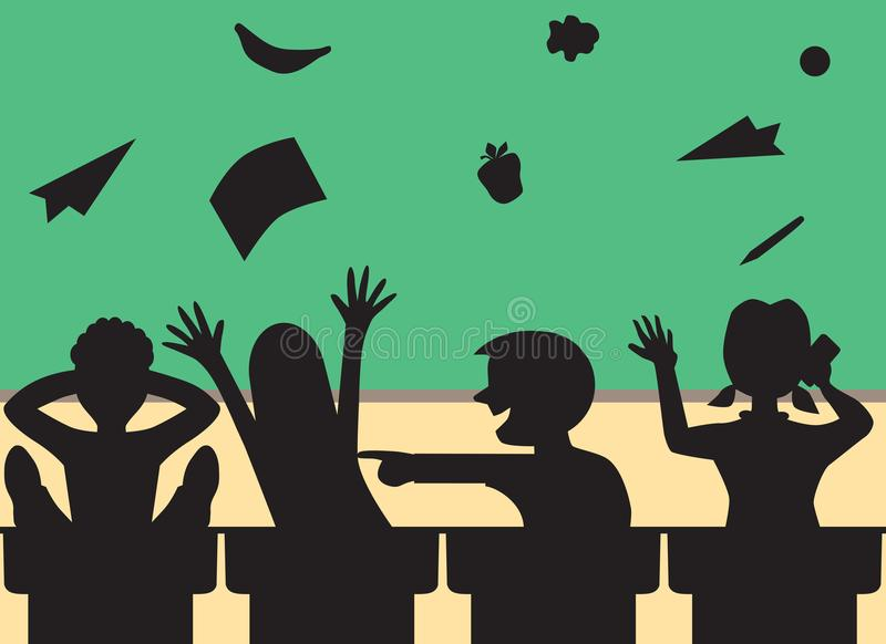 Rowdy Students in Classroom vector illustration