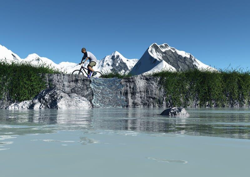 rower góry jadą rzeczną dolinę ilustracja wektor