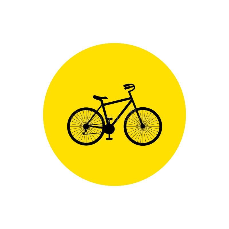 rower Rower ikony wektor Roweru znak na żółtym okręgu Odizolowywającym na białym tle royalty ilustracja