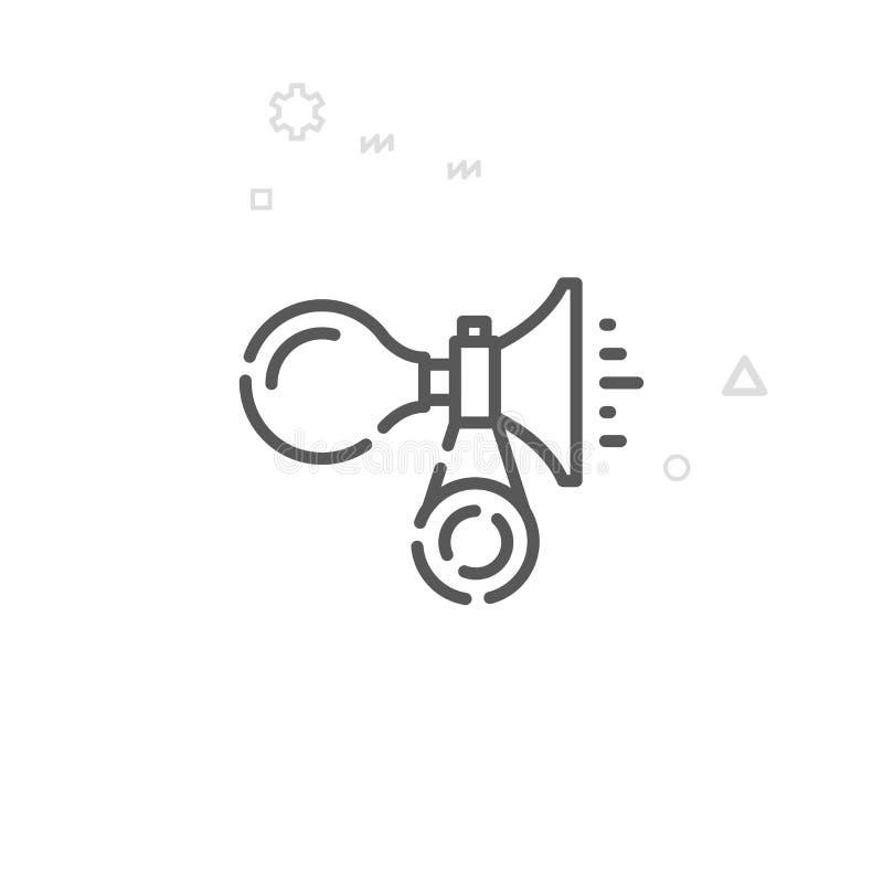 Rower lub Rowerowa rogu wektoru linii ikona, symbol, piktogram, znak Lekki abstrakcjonistyczny geometryczny tło Editable uderzeni ilustracja wektor