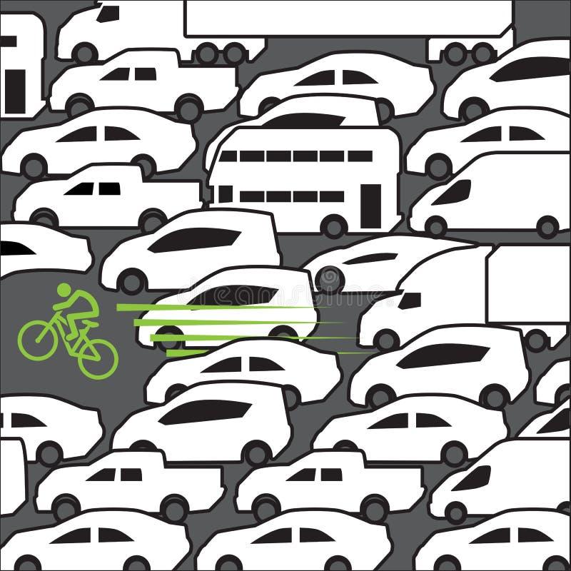 Rower przy godziną szczytu ilustracji