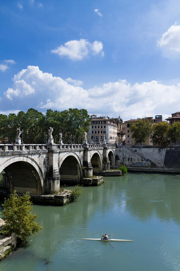 Rower in Tiber River royalty free stock image