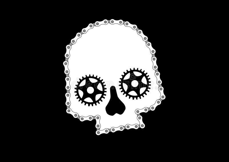 Rowerowa czaszka 2 ilustracji