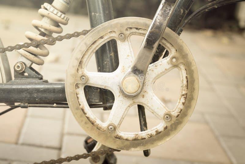 Rowerowa przekładnia i łańcuch, rocznika stylu światło. zdjęcie stock