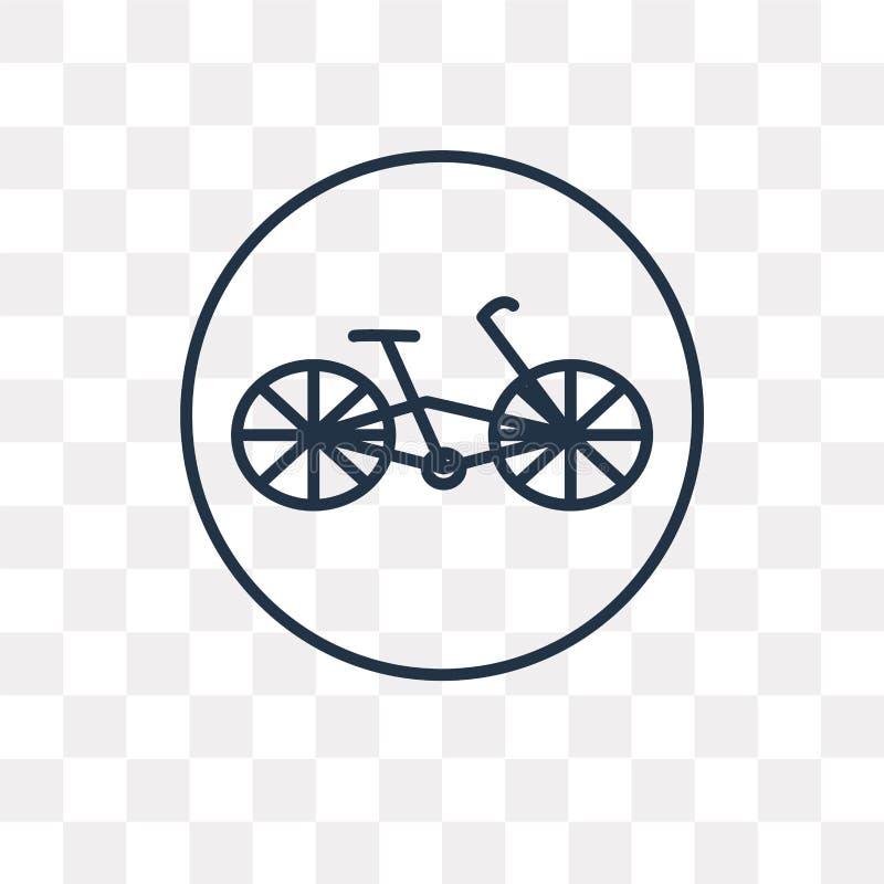 Rowerowa wektorowa ikona odizolowywająca na przejrzystym tle, liniowy b ilustracji