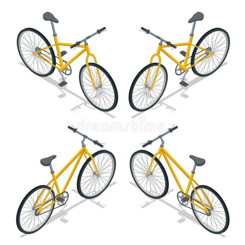 Rowerowa Wektorowa isometric ilustracja Nowy bicykl odizolowywający na białym tle ilustracji