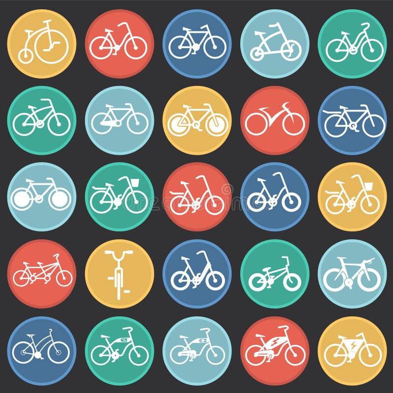 Rowerowe ikony ustawiać na kolorów okregów czarnym tle dla grafiki i sieci projekta, Nowożytny prosty wektoru znak kolor tła poję ilustracji
