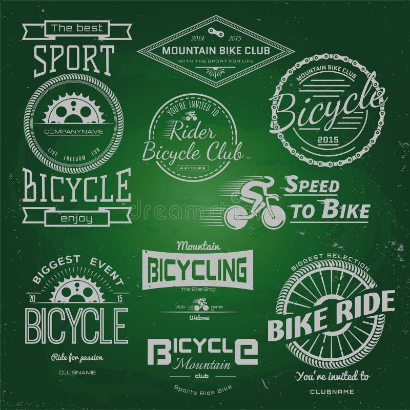 Rowerowi odznaka logowie, etykietki dla żadny i używają royalty ilustracja