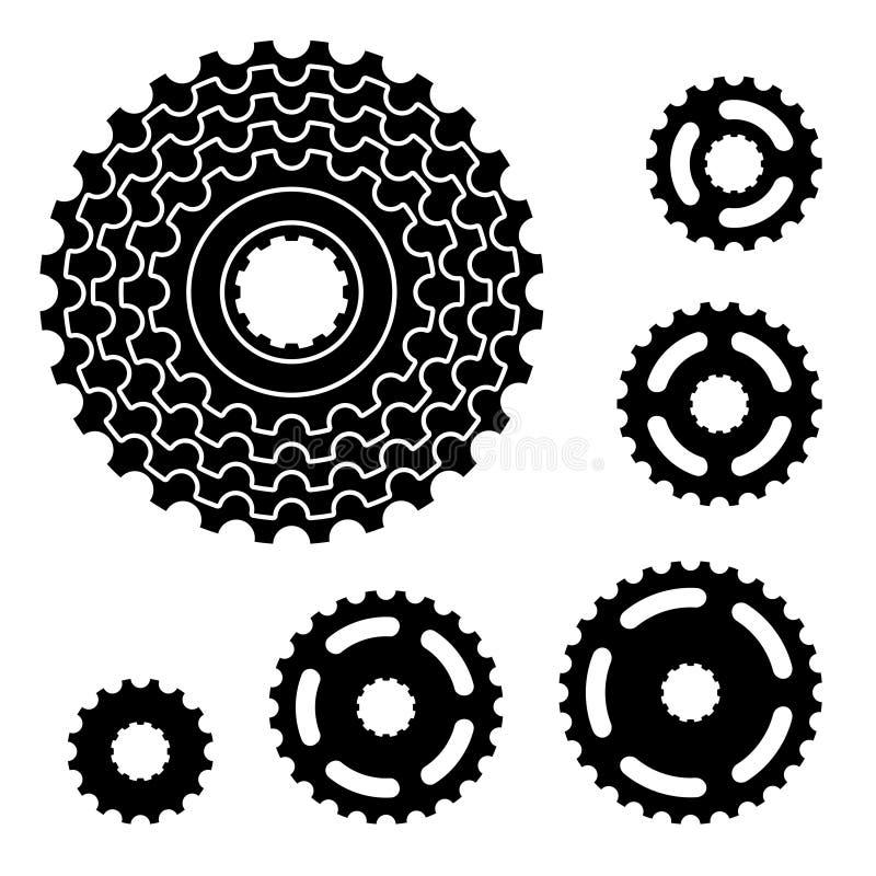 Rowerowi przekładni cogwheel sprocket symbole zdjęcia royalty free