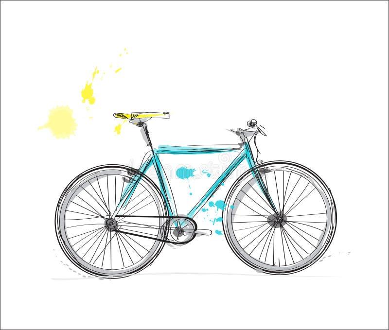 Rowerowy akwareli nakreślenie ręka rysujący miasto rower ilustracji