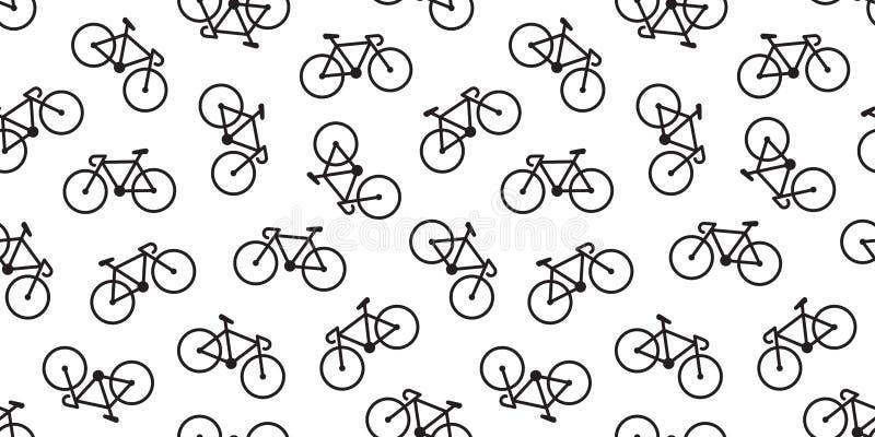 Rowerowy Bezszwowy Deseniowy wektorowy kolarstwo odizolowywał tło tapety rocznika ilustracji
