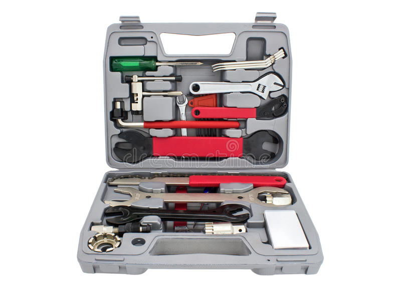 Rowerowy mechanika narzędzia pudełko fotografia royalty free