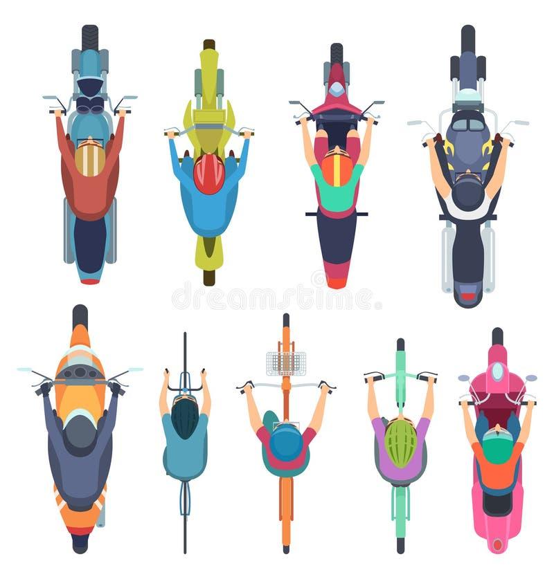 Rowerowy odg?rny widok Ludzie jedzie rower w hełmów jeźdzach moped i cyklu drogowego ruchu drogowego wektoru ilustracjach royalty ilustracja