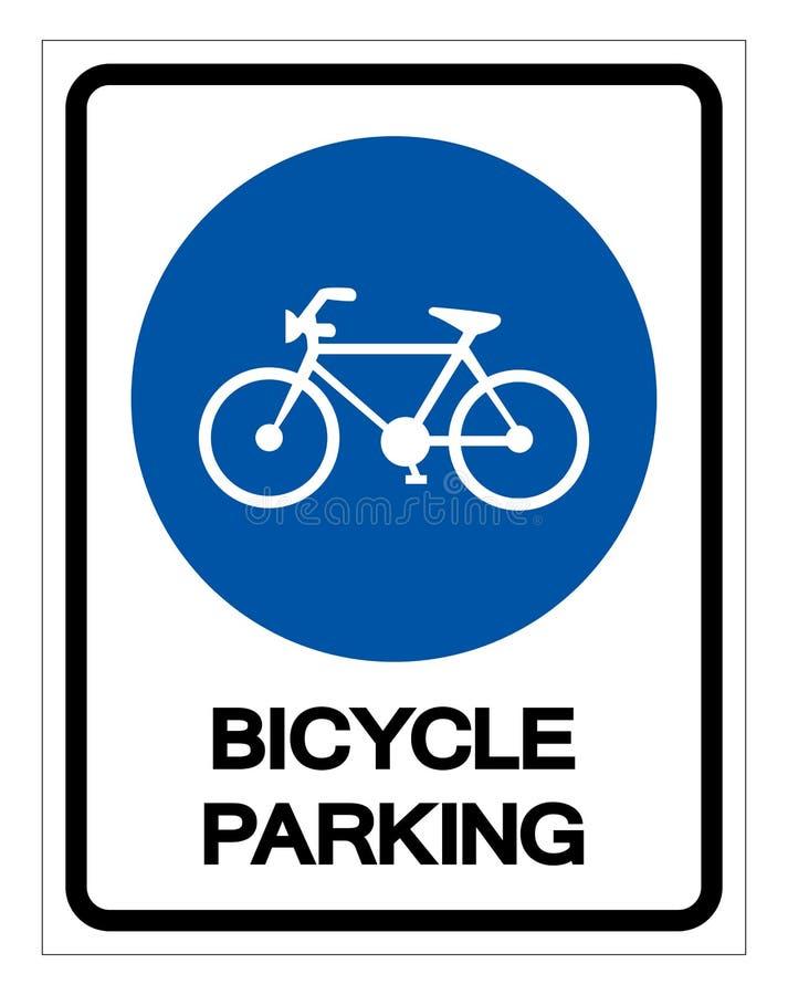 Rowerowy parking symbolu znak, Wektorowa ilustracja, Odizolowywa Na Bia?ej t?o etykietce EPS10 royalty ilustracja