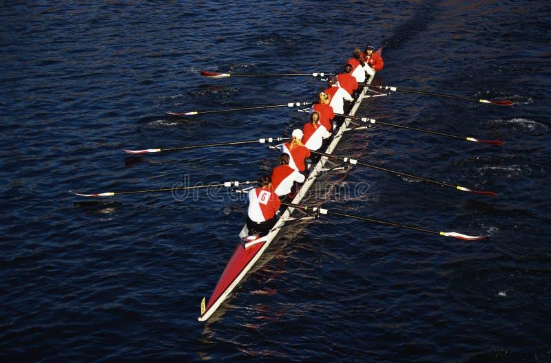 Rowers na cabeça do Regatta de Charles, Cambridge imagem de stock