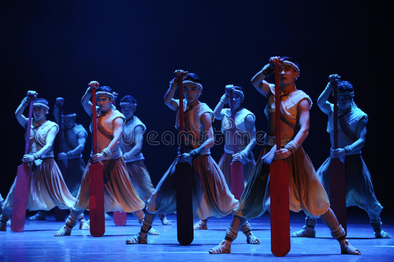 Rowers-The second act of dance drama-Shawan events of the past. Guangdong Shawan Town is the hometown of ballet music, the past focuses on the historical stock photo