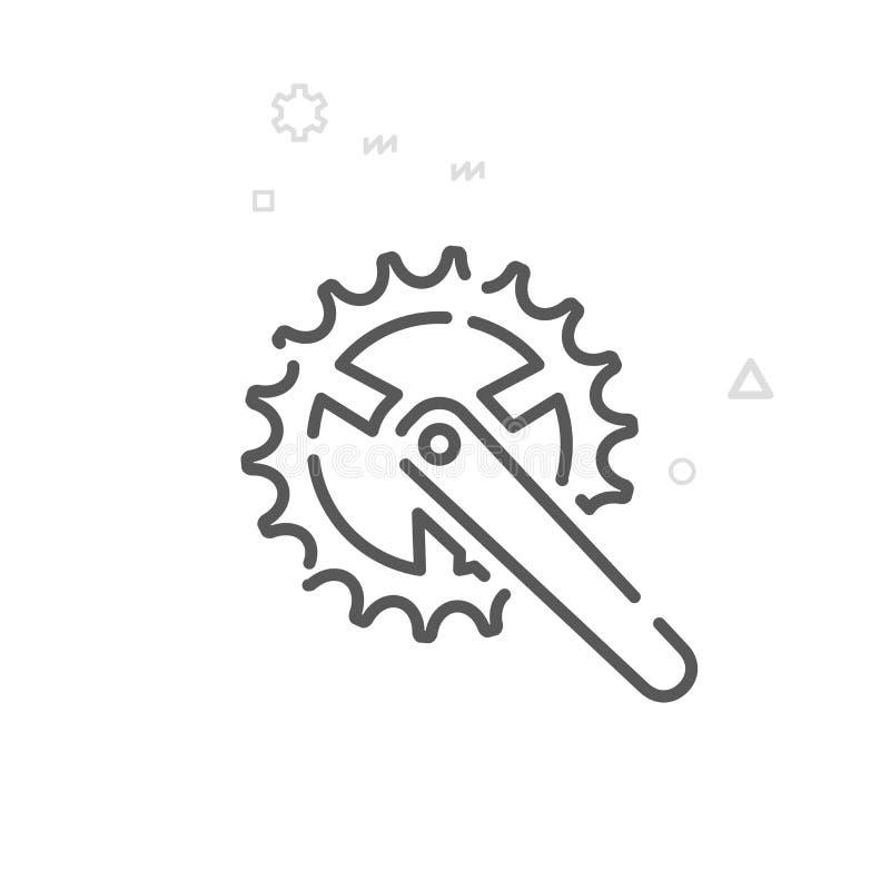 Roweru Chainring wektoru linii ikona, symbol, piktogram, znak Lekki abstrakcjonistyczny geometryczny tło Editable uderzenie ilustracji
