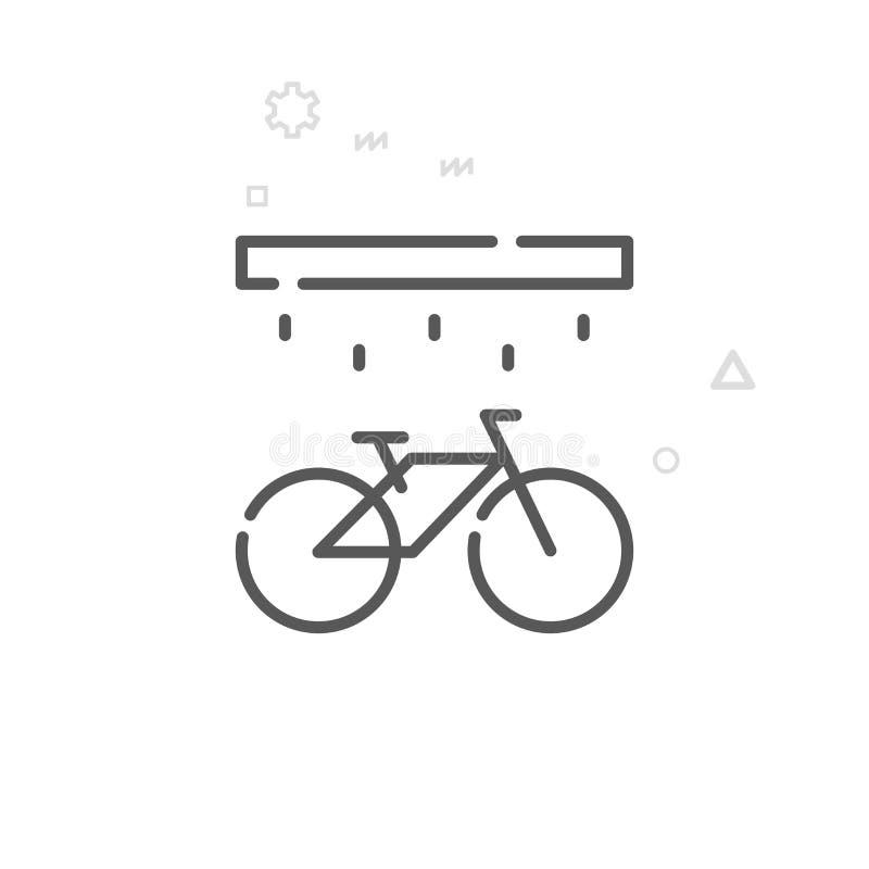 Roweru domycie, obmycie wektoru linii Stacyjna ikona, symbol, piktogram, znak tło geometrycznego abstrakcyjne Editable uderzenie ilustracji
