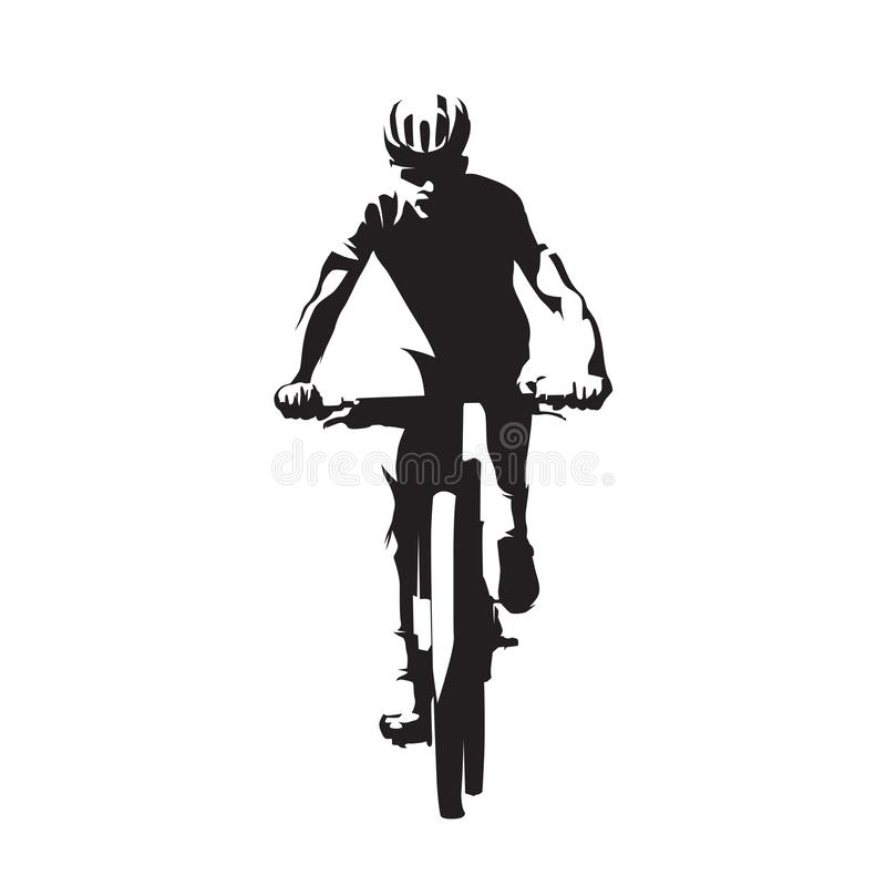 Roweru górskiego kolarstwo, mtb, wektorowa sylwetka ilustracji