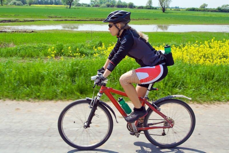 roweru halna lato kobieta zdjęcie royalty free