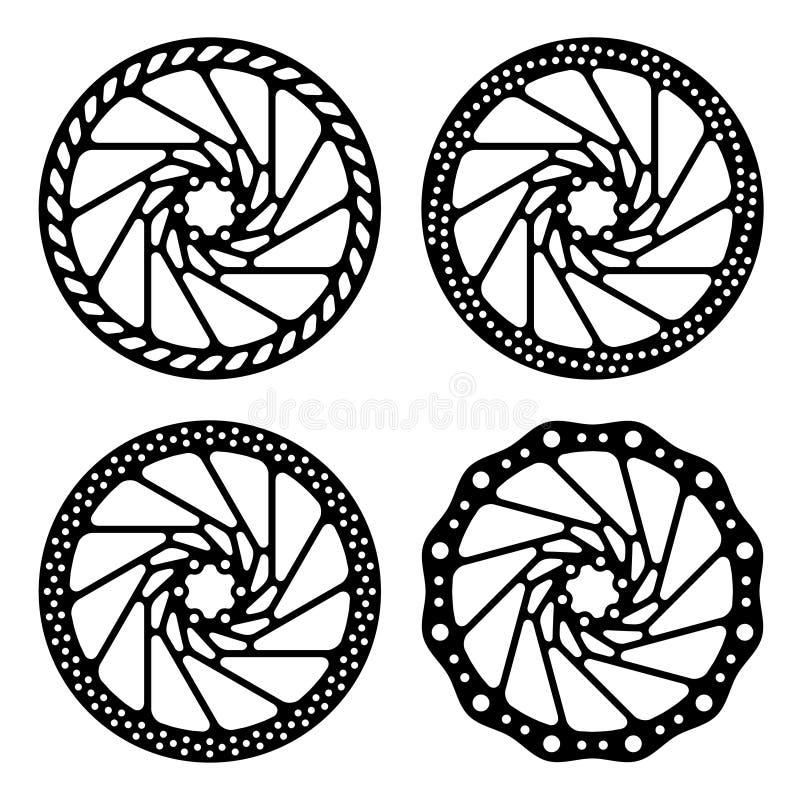 Roweru hamulcowa dyska czerń sylwetka royalty ilustracja