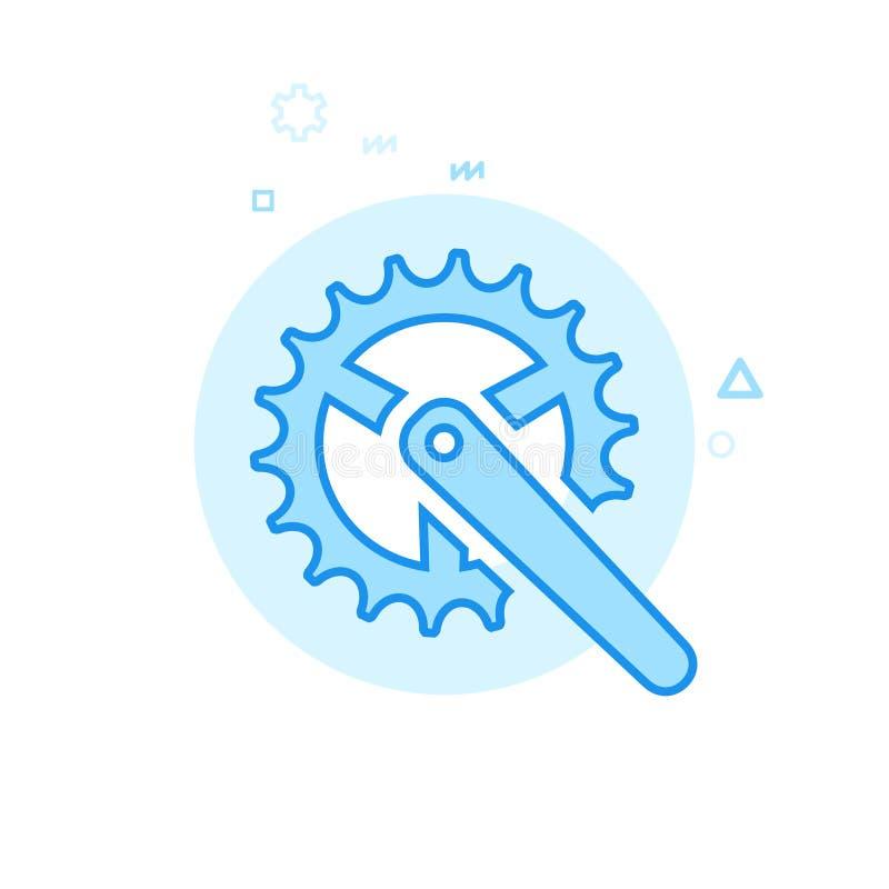 Roweru lub bicyklu Chainring Płaska Wektorowa ikona, symbol, piktogram, znak Błękitny Monochromatyczny projekt Editable uderzenie royalty ilustracja