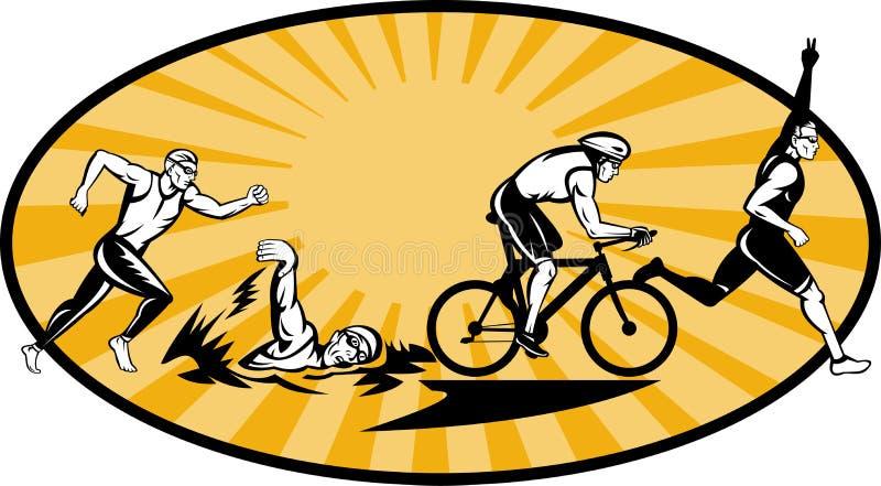 roweru olimpijski bieg pływania triathlon ilustracji