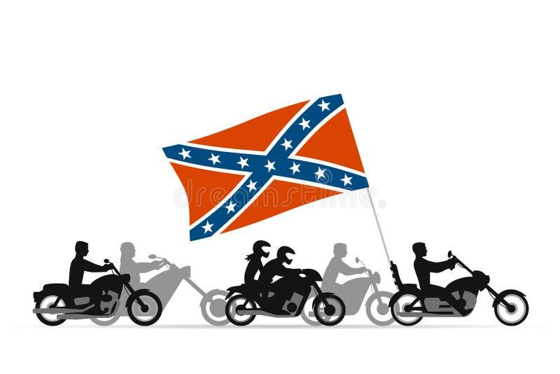 Rowerzyści na motocyklach z konfederata buntownika flaga ilustracja wektor