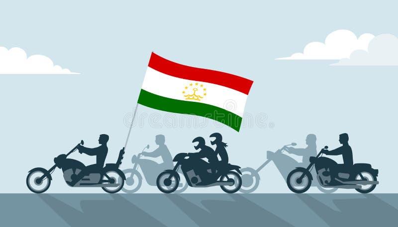 Rowerzyści na motocyklach z Tajikistan flagą ilustracji