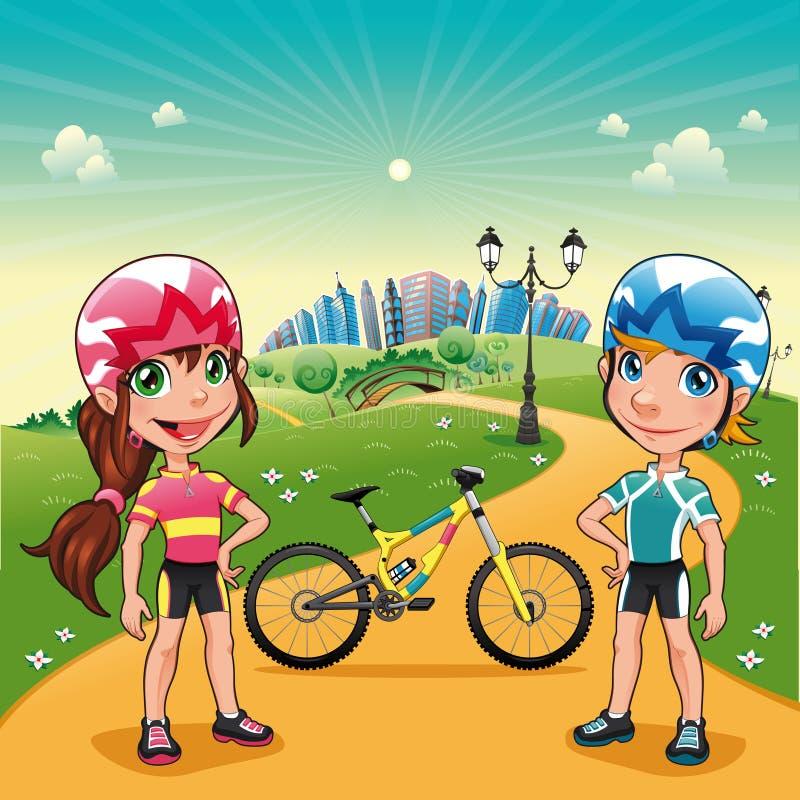 rowerzyści parkują potomstwa royalty ilustracja