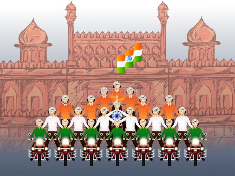 Rowerzyści wykonuje wyczyny kaskaderskich na pocisku z indianin flagą przed Czerwonym fortem dla Szczęśliwego republika dnia ilustracji