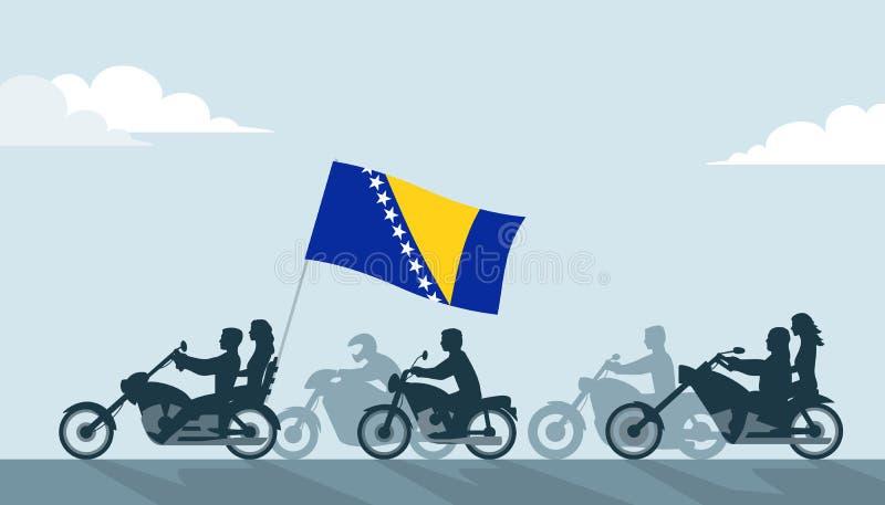 Rowerzyści z Bośnia i Herzegovina flagą royalty ilustracja