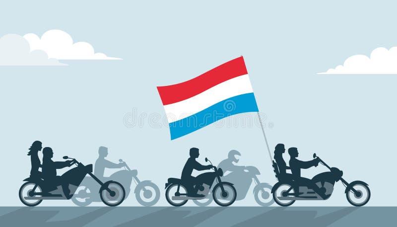 Rowerzyści z Luxembourg flaga royalty ilustracja