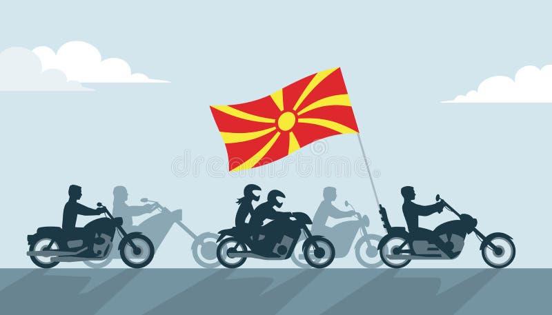Rowerzyści z Macedonia flagą ilustracji