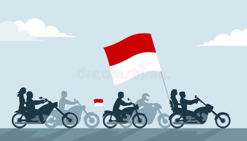 Rowerzyści z Monaco flaga royalty ilustracja
