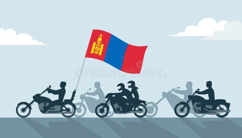 Rowerzyści z Mongolia flagą ilustracja wektor