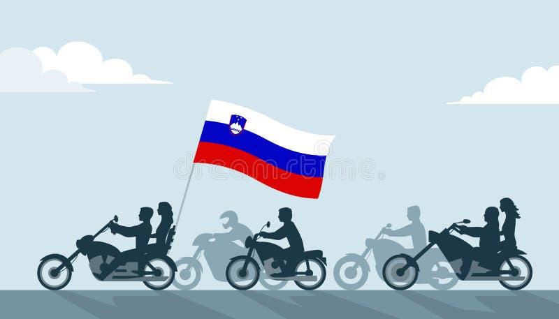 Rowerzyści z Slovenia flagą royalty ilustracja