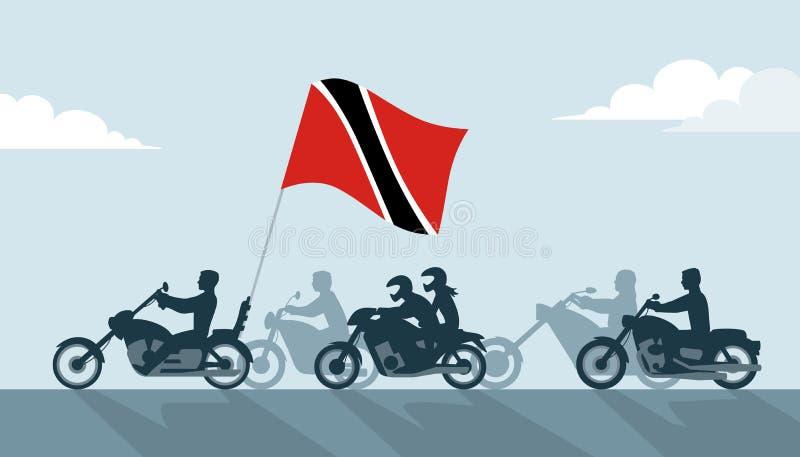 Rowerzyści z Trinidad i Tobago flaga royalty ilustracja