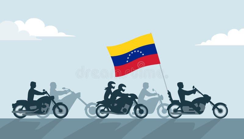 Rowerzyści z Venezuela flagą royalty ilustracja