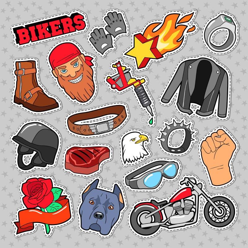 Rowerzystów elementy z siekaczem i motocyklem dla druków, majchery, łaty, odznaki ilustracja wektor