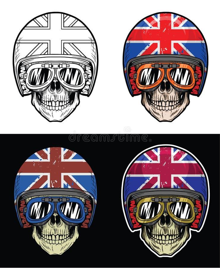 Rowerzysta czaszka Jest ubranym gogle i Grunge UK Chorągwianego hełm, ręki Rysunkowa czaszka ilustracja wektor