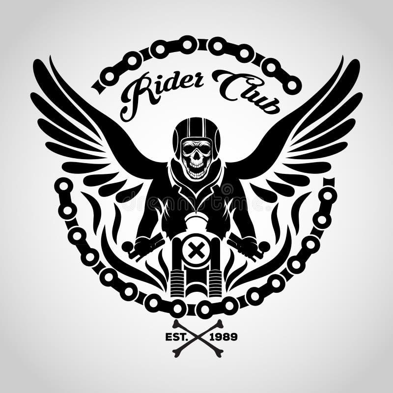 Rowerzysta czaszki logo ilustracja wektor