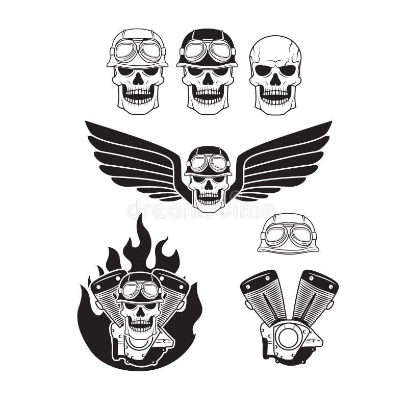 Rowerzysta czaszki ustawiać royalty ilustracja