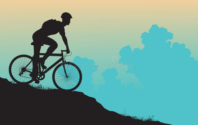 rowerzysta góra royalty ilustracja