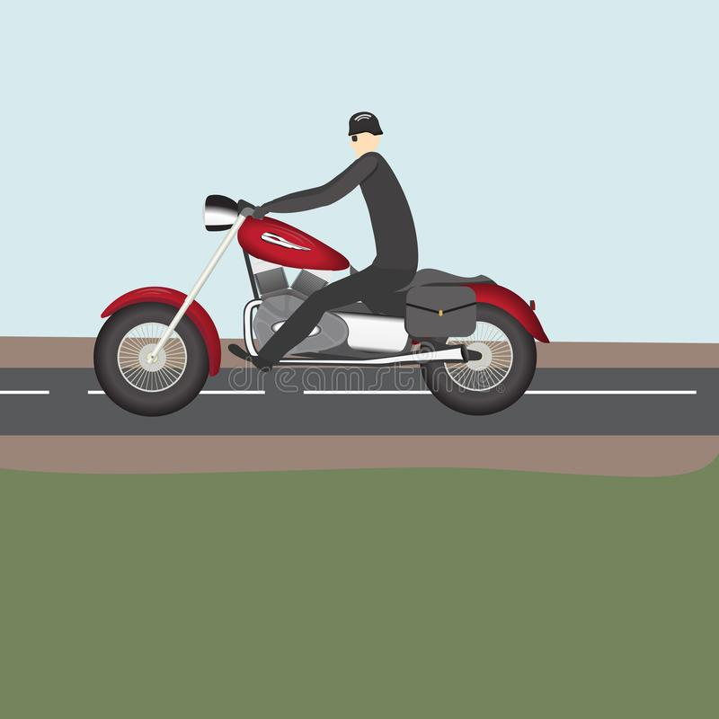 Rowerzysta jazda na drodze na czerwonym motocyklu ilustracja wektor