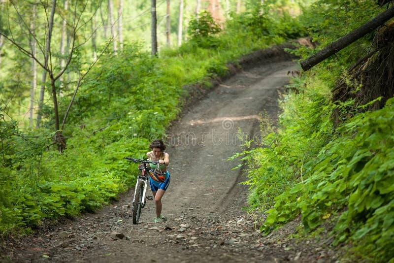Rowerzysta pcha bicykl up w zielonym lesie obrazy royalty free
