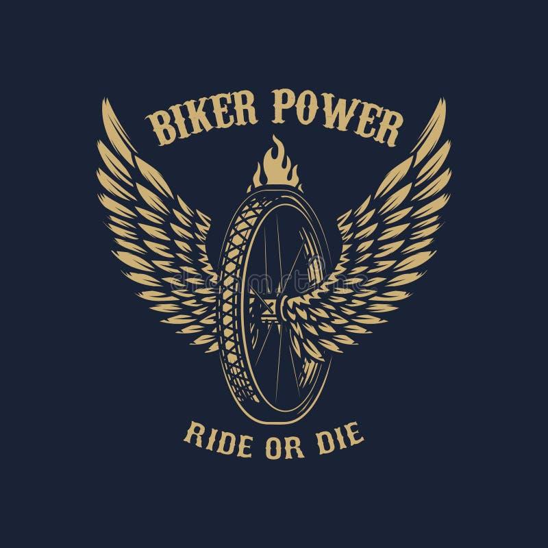 Rowerzysta władza Oskrzydlony koło na ciemnym tle Projektuje element dla plakata, emblemat, znak, t koszula royalty ilustracja