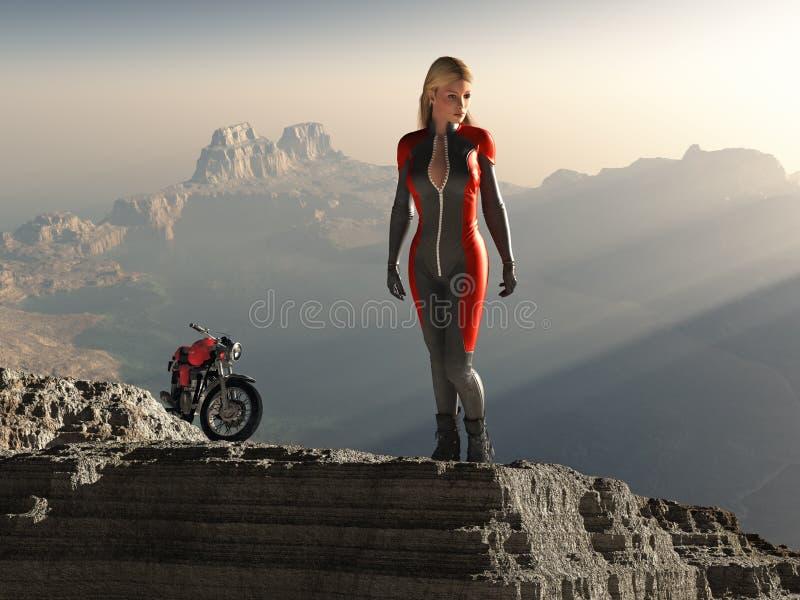 rowerzysty halnego szczytu kobieta obraz stock